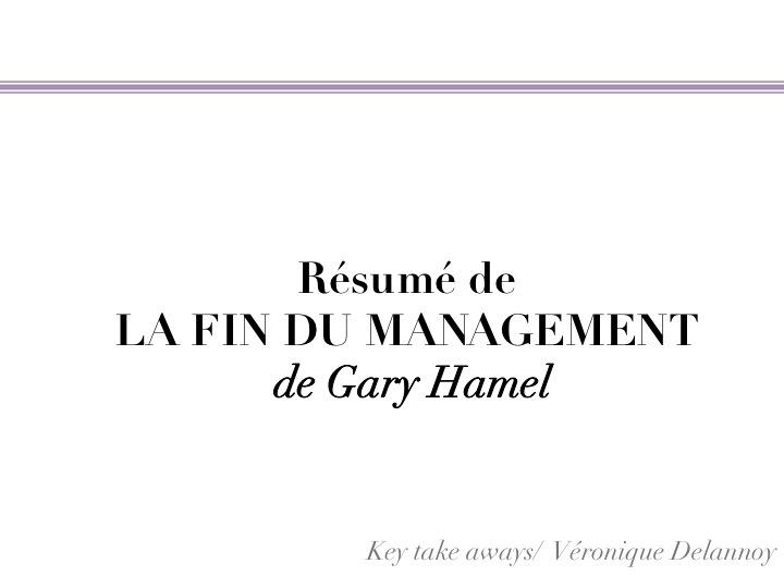 Gary Hamel La Fin Du Management My Professional Blog